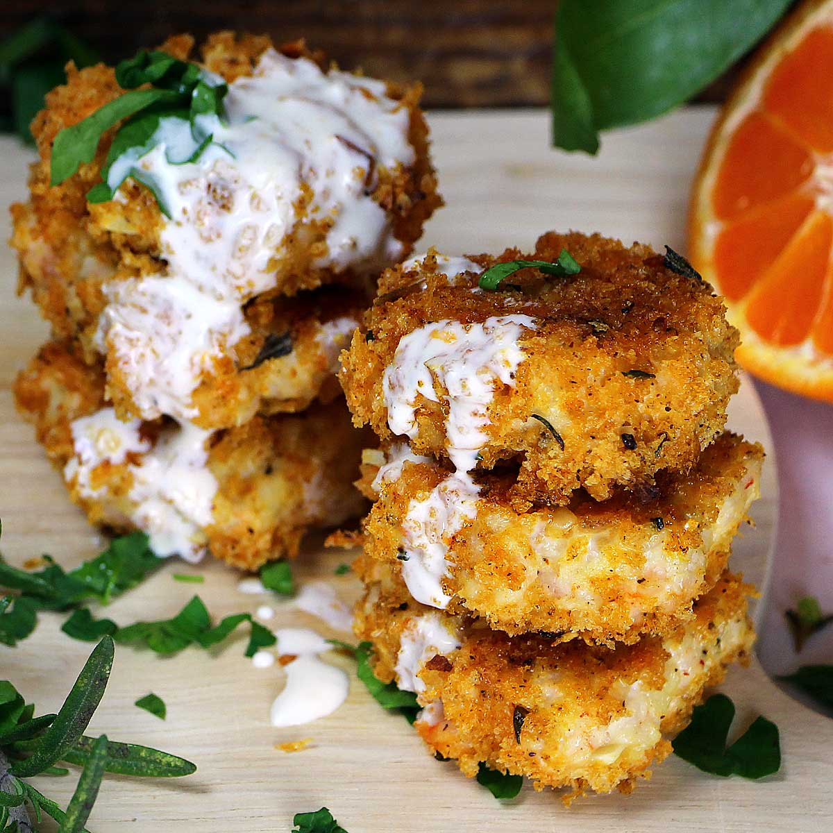 panko crusted shrimp cakes with two-citrus aioli — Recipe Fiction
